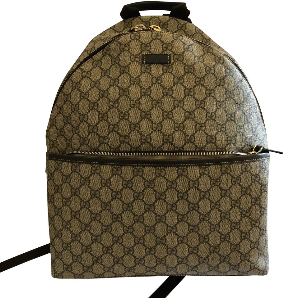 0749cbc7c8bc Gucci Classic Gg Beige and Brown Supreme Canvas Leather Backpack ...