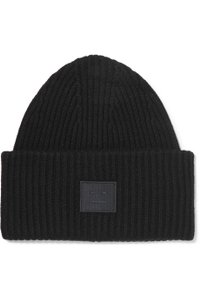Acne Studios Pansy Face appliquéd ribbed wool beanie