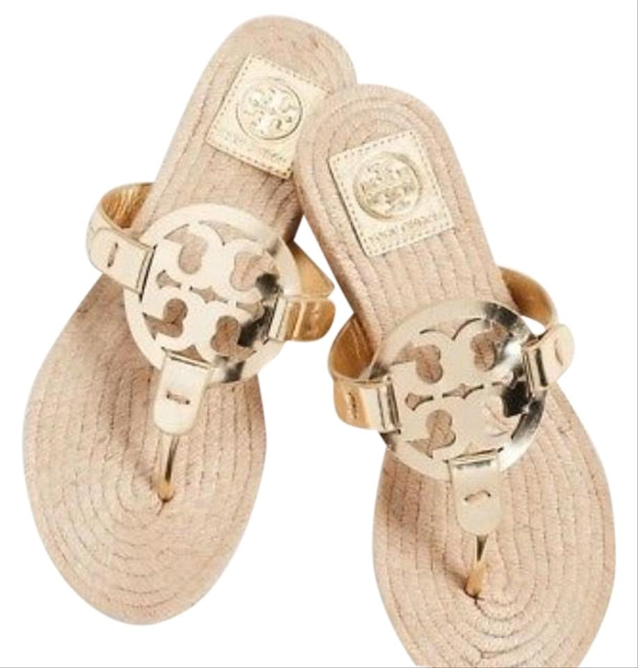26cd14632 Tory Burch Gold Miller Espadrilles Sandals Size US 7 Regular (M