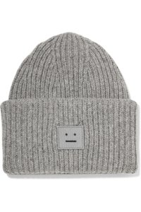 Acne Studios acne studios Pansy appliquéd ribbed wool-blend beanie