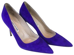 Manolo Blahnik Suede Bb Heels Purple Pumps