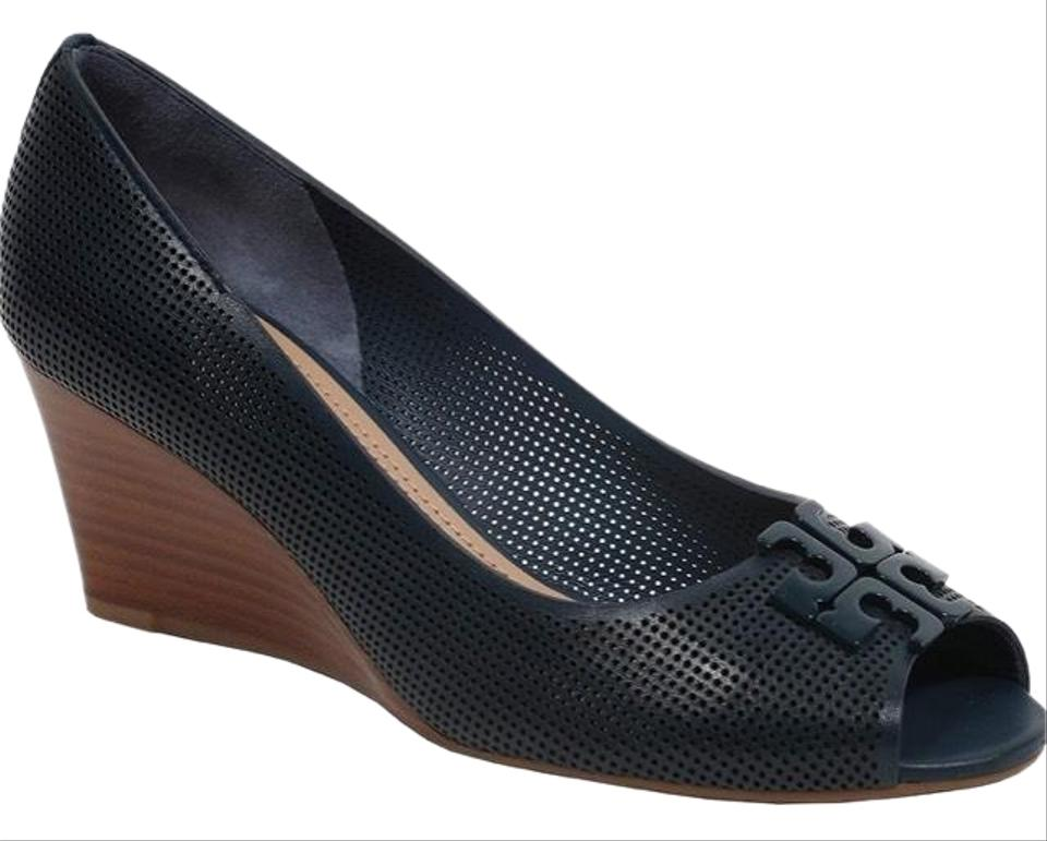 b70ac8b0c13a Tory Burch Newport Navy Lowell 2 65mm Perforated Peep Toe Wedges ...