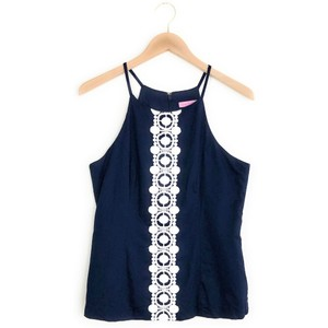 Lilly Pulitzer Annabelle Lacetrim Halter Lillytop Top Blue