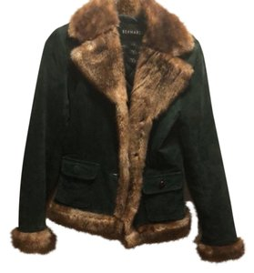 Bernardo Satin Faux Fur Green Leather Jacket
