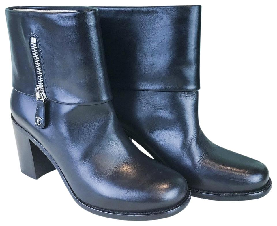 3d5e61fd677 Chanel Black Leather Fold Over Zipper Short Ankle Sale Boots/Booties Size  EU 39.5 (Approx. US 9.5) Regular (M, B) 58% off retail