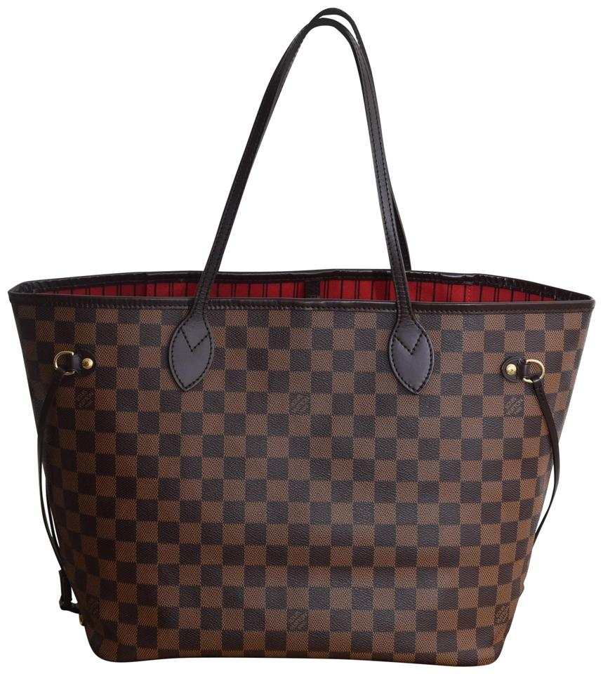 0b62c7af17f Louis Vuitton Lv Neverfull Never Full Mm Lv Canvas Tote in Damier Ebene  with cherry textile ...