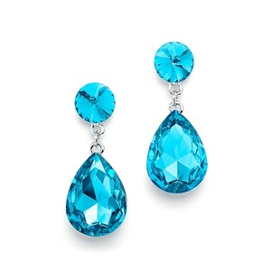 Pear-shaped Drop Earrings - Aqua