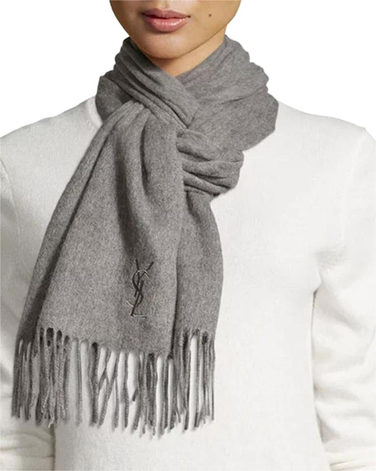 725a2299029 Saint Laurent Light Grey Yves Solid Color Fringe Wool Scarf/Wrap ...