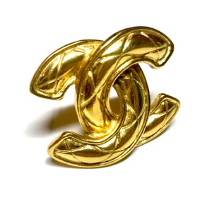 Chanel Chanel Vintage Gold Quilted Charm Pin Brooch
