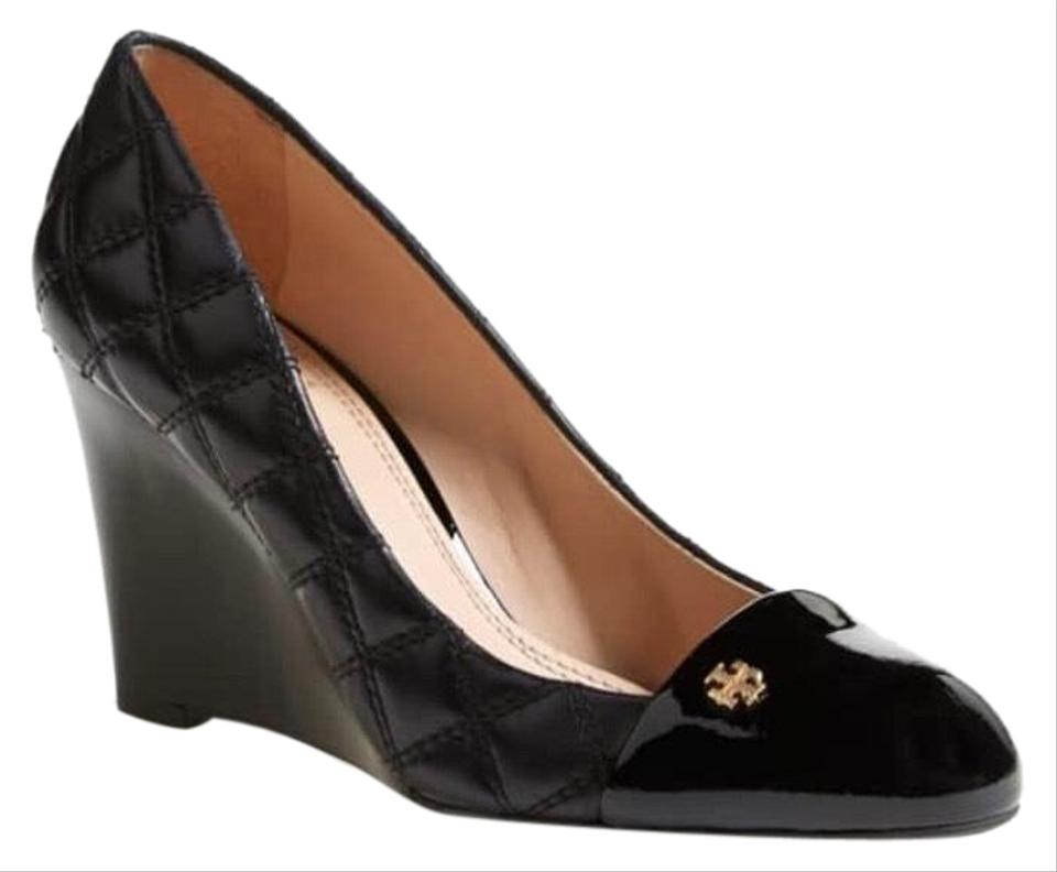 1101c9b4b6a Tory Burch Black Claremont Quilted Pump Wedges Size US 10.5 Regular ...