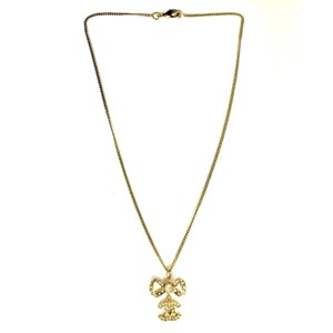 Chanel Chanel Gold Ribbon Bow CC Crystal Dangle Necklace