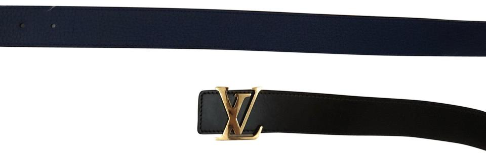 b7f61db6355f Louis Vuitton Brown Blue LV Pyramide 40MM Reversible Calf Leather Belt  M9151q 100 Image 0 ...