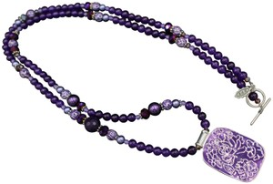 """Amy Kahn Russell Amy Kahn Russell AKR Purple Amethyst Pearl Crystal Bronze 36"""" Necklace"""