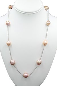 Honora 11-14mm Multicolored Ming Pearl Station Adjustable Chain Necklace