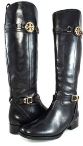 Tory Burch Knee-high Leather Riding Buckles Black Boots