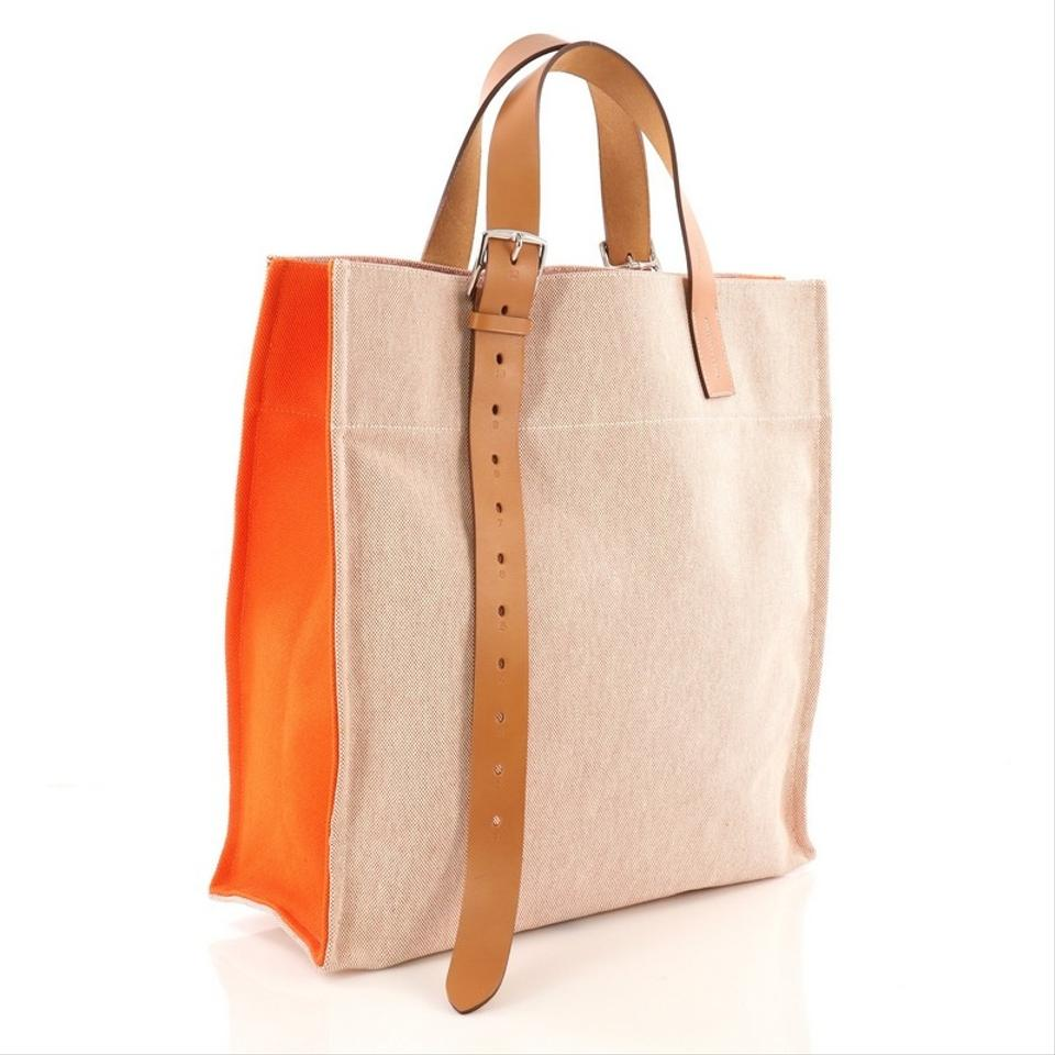 aa5dd9e1af Hermès Etriviere Shopping Ecru and Orange Toile Leather Tote - Tradesy