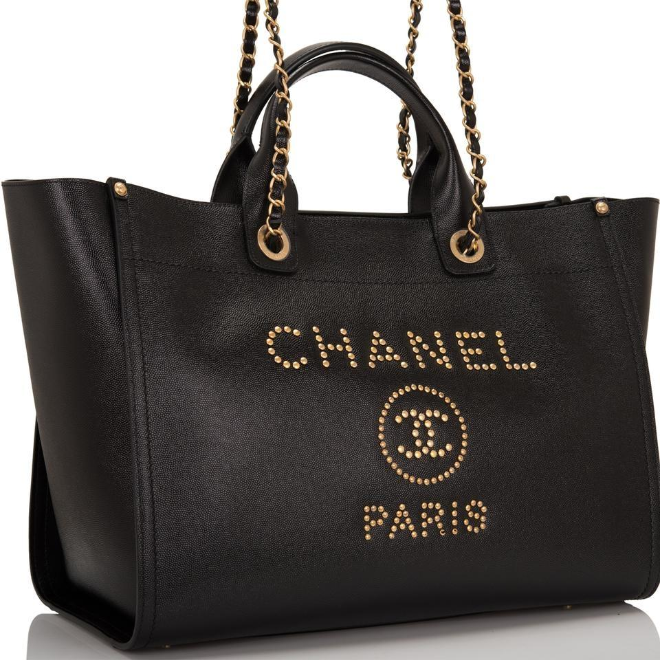 3cd9bdabaa37 Chanel Shopping Deauville Large Caviar Gold Studded Black Leather Tote -  Tradesy
