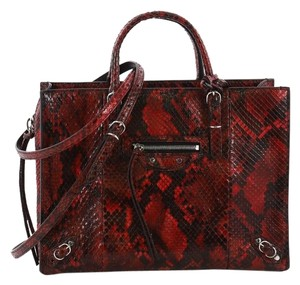 Balenciaga Python Tote in red and black
