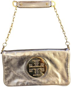 Tory Burch Leather Logo Gold Clutch