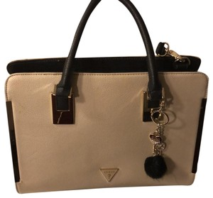 Guess Satchel in Bone, Black and Tan with gold accent