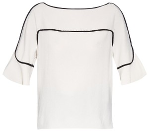 See by Chloé Silk White Piping Black And White Top Ivory