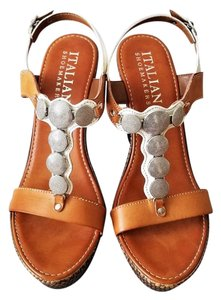 Italian Shoemakers Leather Brown/Silver Wedges