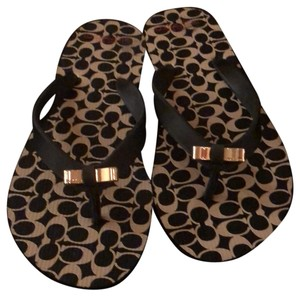 Coach Black & Beige Coach Print Sandals
