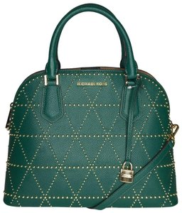 Michael Kors Adele Large Dome Leather Green Shoulder Bag
