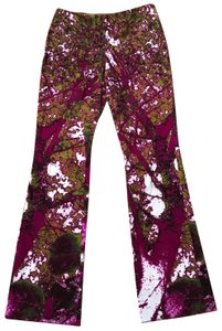 Versace Jeans Collection Boot Cut Pants Purple, green, pink, white
