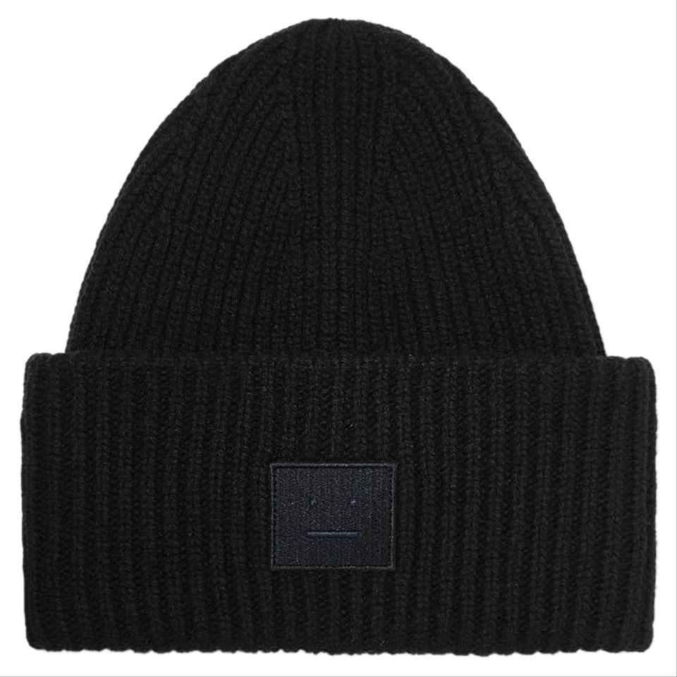Acne Studios Pansy Face Appliqued Ribbed Wool Beanie Hat - Tradesy 886a0a80878