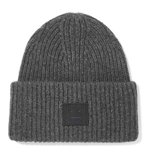 Acne Studios pansy face appliqued ribbed wool beanie