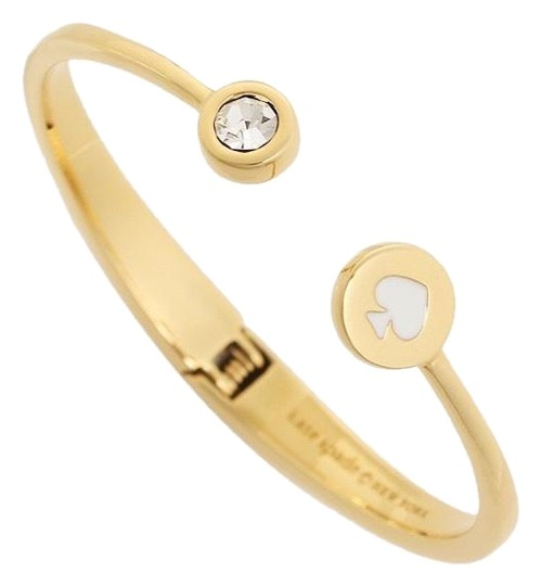 Kate Spade Kate Spade White Spot The Spade Open Hinged Cuff Image 0