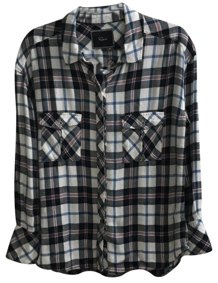 acac4672 Rails Blue White Pink Plaid Flannel Style Button-down Top Size 2 (XS ...