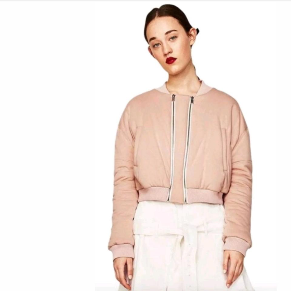 d1c2e258a Zara Pink L New with Tags Cropped Double Zip Bomber M/L Jacket Size 10 (M)
