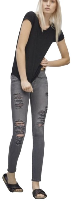 Item - Grey Medium Wash Le De Jeanne Skinny Jeans Size 23 (00, XXS)
