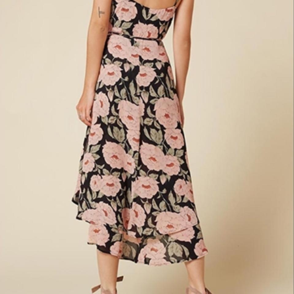 b2fc98c1cb00 Reformation Black Floral Mattie Mid-length Cocktail Dress Size 14 (L) -  Tradesy