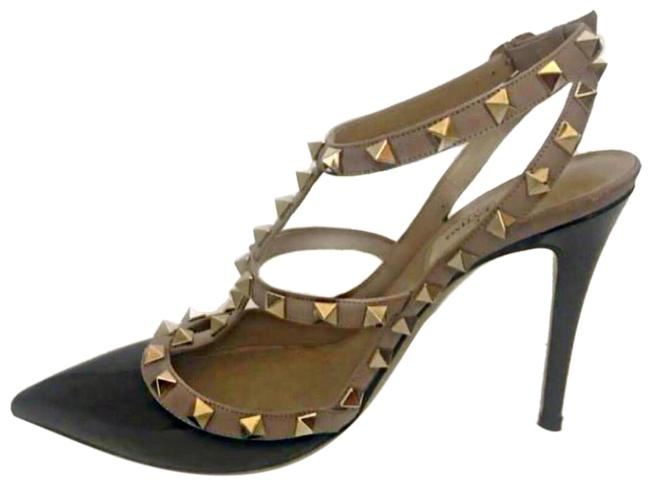 Item - Black Patent Leather and Beige Leather with Gold Studs. Rockstud Stilettos Formal Shoes Size EU 38 (Approx. US 8) Regular (M, B)
