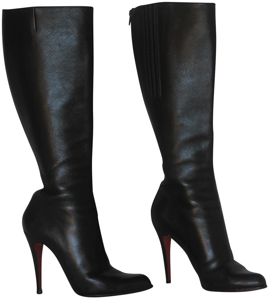 Christian Louboutin Black 38it Knee High Heel Women Lady Fashion Red ... 9f6e140220