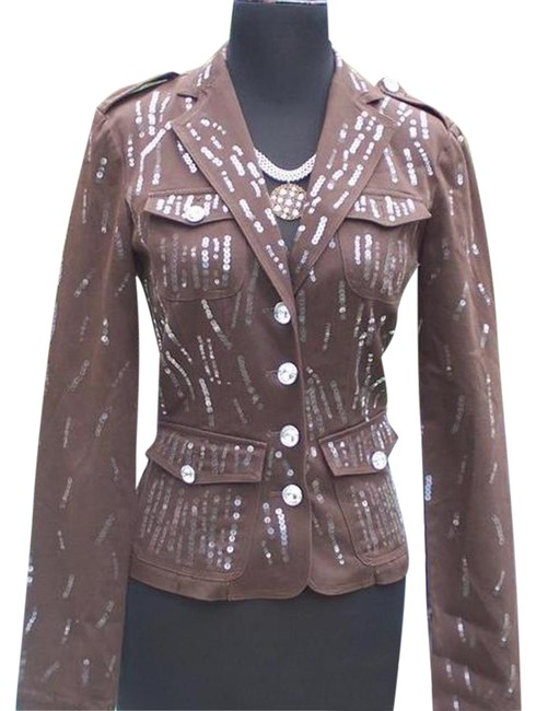 Item - Brown Sequin Encrusted Gemstone Buttons Jacket Top New Fitted Blazer Size 0 (XS)