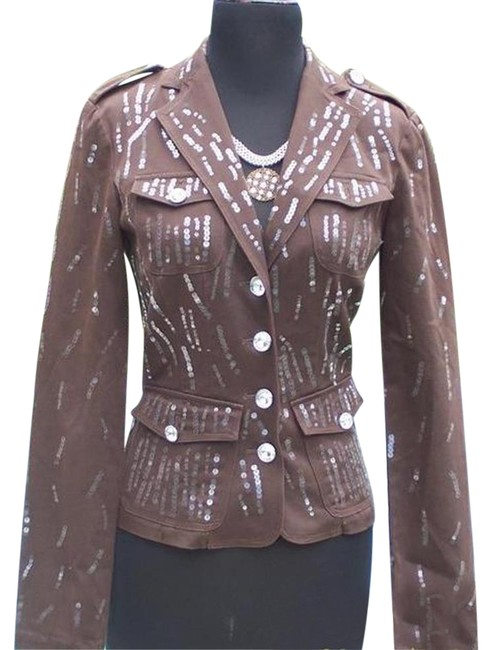 Item - Brown Sequin Encrusted Gemstone Buttons Jacket Top New Fitted Blazer Size 6 (S)