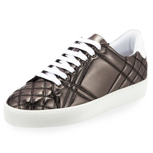 Burberry Quilted Check Leather Made In Italy Luxury Designer Round Toe Metallic Grey (Dark Nickel) Flats