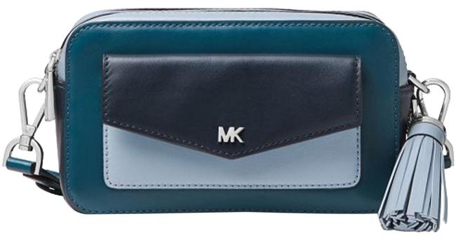 Item - Camera Tricolor Admiral/Pale Blue/Silver Leather Cross Body Bag