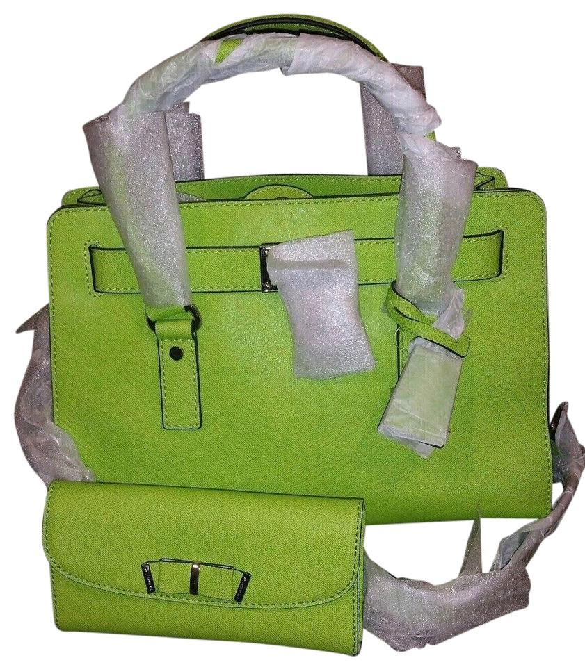e1a6e91cbef0 Michael Kors Hamilton (New with Tags) Pear Lime Green Silver Hardware 2pc  Bag   Wallet Set Saffiano Leather Satchel