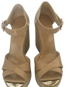 4a98b7f19073 Jimmy Choo Sandal Mint Condition Patent nude leather Wedges