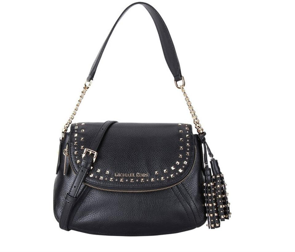 a2de006c6bf7 Michael Kors Aria Convertible Stud Tassel Medium Black Leather ...