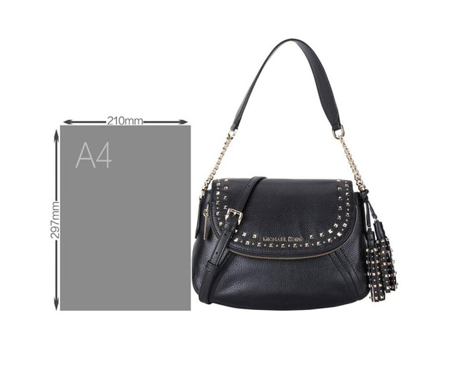 2877add389e5 Michael Kors Aria Convertible Stud Tassel Medium Black Leather Shoulder Bag  - Tradesy