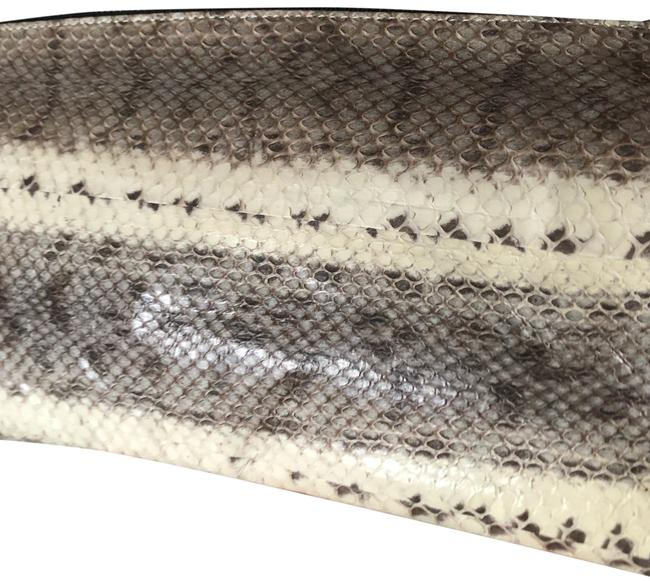 Item - Black Gray White Snakeskin Leather Clutch