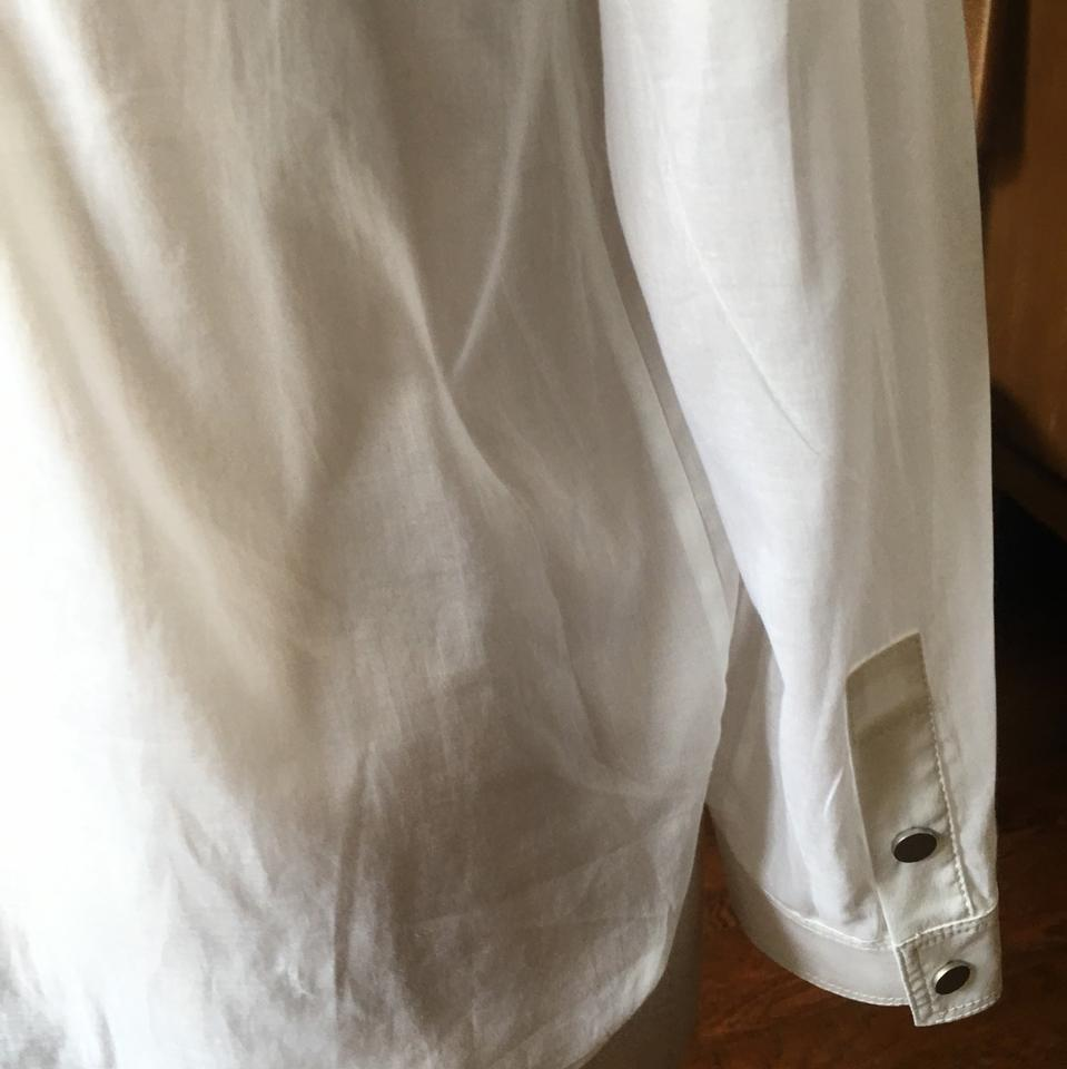 Worth White Womens Cotton Voile Banded Collar Shirt M Blouse Size 8