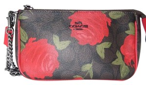 Coach COACH F25787 LARGE WRISTLET 19 WITH CAMO ROSE FLORAL PRINT