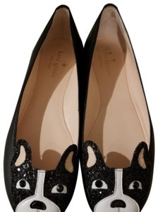 Kate Spade Leather Glitter Black Flats